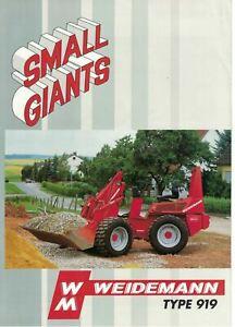 Weidemann Small Giants Type 919 Loader 1995 Brochure / Leaflet   6510F
