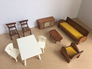 Hall's Lifetime Toys Doll House Furniture Couch Chairs Table TV MCM Vintage