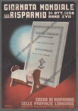 EMIDIO ADRIANI Illustr. GIORNATA RISPARMIO 31 ott 1938 CASSA PROVINCIE LOMBARDE