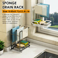 Kitchen Sink Sponge Dish Towel Drying Rack Storage Organizer Cloth Holder Shelf