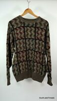 VTG Men's TSR USA Sweater Textured Knit Geometric Cosby Fresh Prince Sz Large