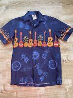 Vintage Hawaiian Togs Mens Small Shirt Ukelele Hawaiian Songs Navy Cotton EUC