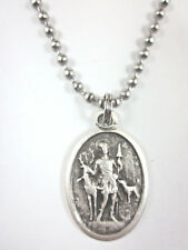 "St Hubert Medal Italy Pendant Necklace 24"" Ball Chain Gift Box & Prayer Card"