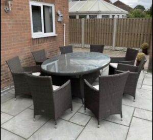 RATTAN ROYALCRAFT 8 SEATER OVAL OUTDOOR GARDEN DINING TABLE CHAIR SET BROWN