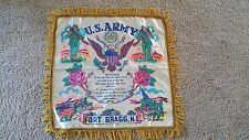 Vtg WW 11 U S Army Ft Bragg NC Home Front Satin Pillow Cover Tanks Guns Men