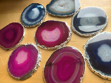 Wholesale - Silver Plated Agate Slice #2 (3-3.25 Inches ) Escort Cards Coaster