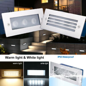 LED Stair Step Well Light Outdoor In-Ground Garden Waterproof Pathway Wall Lamp
