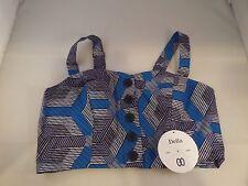 NWT DELLA LA Blue Gray Black Distinct by Design OTS Crop Top Sz M Rockability