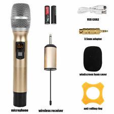UHF Wireless Karaoke Microphone Speaker 25 Channel Handheld W/ Receiver Set Gold