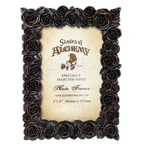 "Alchemy Gothic NEW Romantic Black Roses Picture Frame 4X6"" Photo Gift Decor SA18"
