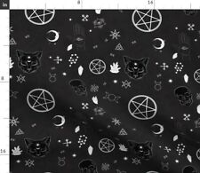 Pagan Wiccan Black And White Witchcraft Fabric Printed by Spoonflower BTY