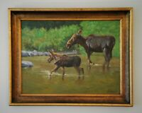 "Original Signed Artwork Framed ""18X24"" Oil on Canvas Moose Cow & Calf, Wyoming"