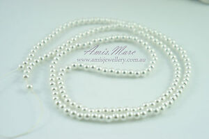 *180pcs Beads 4mm Pure White Imitation Loose Acrylic Round Pearl Spacer*