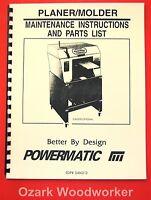 POWERMATIC Belsaw Planer-Molder Maintenance Instructions and Parts Manual 1082