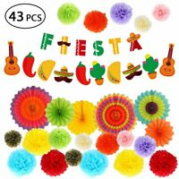 Mexican Themed Favors Fiesta Party Decoration Supplies Banner Fan Flower Poms
