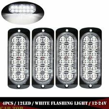 4X White 12 LED 36W Strobe Light Car Truck Beacon Flash Warning Hazard Emergency