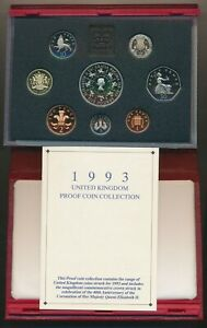 Great Britain: 1993 Deluxe Lrather Proof Set, w £5 QEII Coronation Anniv Crown
