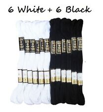 12 Black & White Anchor Stranded Cotton Thread Floss Skeins, Free Fast Delivery