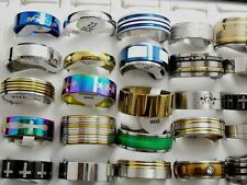 50pcs Men's Mixed SZ 20/21/22/23 mm Stainless Steel Band rings Fashion Jewelry