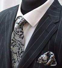Men's Tie & Handkerchief Set Black With Silver & Grey Floral LUC330