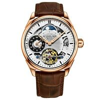 Stuhrling Men's Skeleton Dual Time Rose Gold Plated AM PM Leather Strap Watch