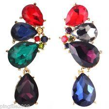 Hot New Design Lady Multi Crystal Bling Rainbow Drop/Dangle Earring 5.5cm E839