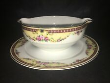 C AHRENFELDT LIMOGES GRAVY BOAT W/ ATTACHED UNDERPLATE France
