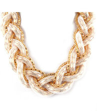 Mesh Bead Gold Tone Chain Statement Necklace New Women Fashion Jewelry
