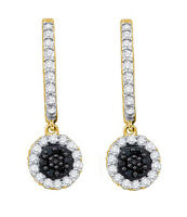 10K Yellow Gold Diamond Earrings Dangle Black & White Diamond Hoops .49ct