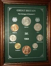 FRAMED 1964 COIN YEAR SET (RETRO 53rd BIRTHDAY PRESENT WEDDING ANNIVERSARY GIFT)