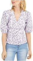 INC Women's Blouse Lilac Purple Size Large L Wrap Floral Puff Sleeve $59 #030
