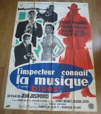 ANCIENNE AFFICHE CINEMA L'Inspecteur connait la musique Sydney BECHET 1955