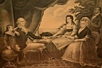 Antique ORIGINAL NY George Washington Family Portrait Etching Lithograph Print