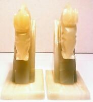 """Vintage ONYX MARBLE HORSE HEAD BOOKENDS FOR DISPLAY OR GIFT GREEN 6"""""""