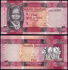 SOUTH SUDAN 5 POUNDS (P6) N. D. (2011) UNC