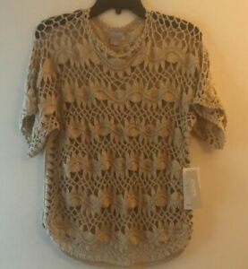 """GORGEOUS Chico's """"Open Crochet"""" Sand Sweater Top-  Size 0/ Misses S  $109 NEW"""