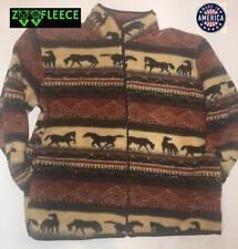 ZooFleece Horses Print Sweater Jacket Equestrian Berber Cute Pet Animal Gift