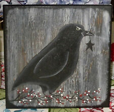 *~*PRIMITIVE*~* HP FOLK ART PRIM CROW *~* STAR *~* PIP BERRIES *~* BOARD