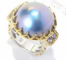 Pearl Tanzanite Ring, Sterling Silver 925 Gems en Vogue 18-20mm Blue Gray Mabe