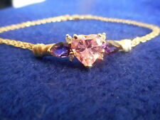 GORGEOUS 14K YELLOW GOLD BRACELET WITH PINK HEART 2 AMETHYST AND 4 DIAMOND CHIPS
