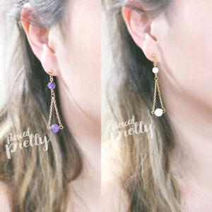16g 20g Amethyst / Pearl long chain earrings, Stainless steel Long chain earring