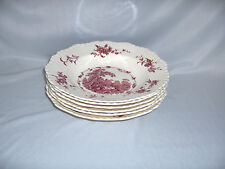 6 Vintage Soup Bowls Masons Ironstone China Pink Watteau England Gadroon NICE