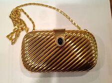 Amazing Jeweled Gold Hard Case Minaudiere Clutch Crossbody Purse New Years Eve!