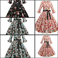 Evening Womens Dresses Long Sleeve Tunic Dress Party Christmas Cocktail Floral