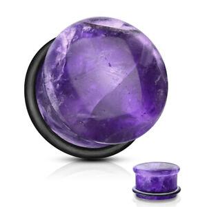 1 PAIR Purple Amethyst Organic Domed Single Flare Ear Plugs Gauges