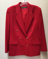 Brooks Brothers Womens Red Gold Button Double Breasted Blazer Jacket Sz 10 Wool