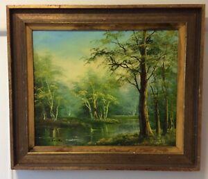 Vintage Forest Oil Painting - Framed