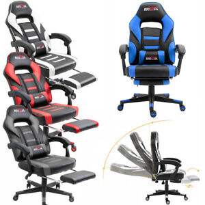 Computer Game Chair w/ Footrest Swivel Office Recliner Gaming Desk Chairs Rocker
