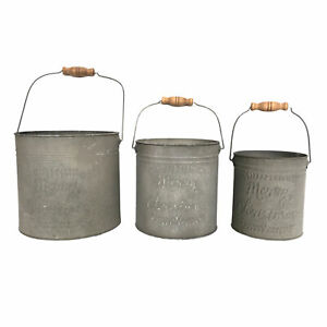 Set of 3 Festive Tin Buckets with 'Merry Christmas Wording' and Wooden Handle