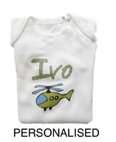 PERSONALISED helicopter print baby boys clothing babygrow/vest baby shower gift